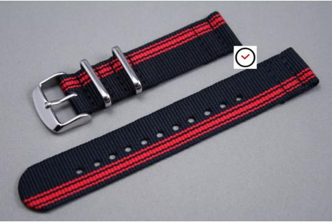 Bracelet montre NATO 2 pièces Ducati Noir Rouge