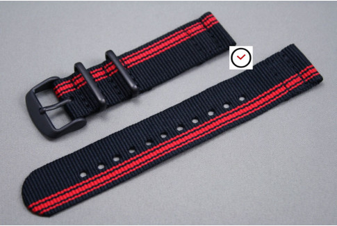 Black Red Ducati 2 pieces NATO strap, PVD buckle and loops (black)