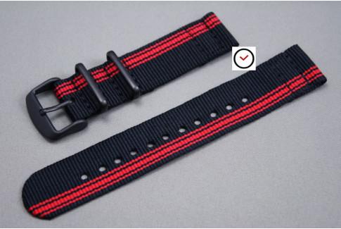 Bracelet montre NATO 2 pièces Ducati Noir Rouge, boucle PVD (noire)
