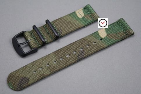 Bracelet montre NATO 2 pièces Camouflage, boucle PVD (noire)