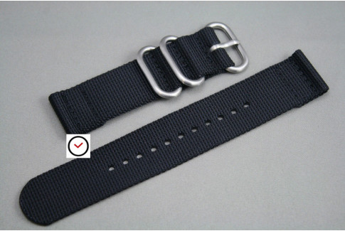 Black 2 pieces nylon strap (highly resistant fabric)
