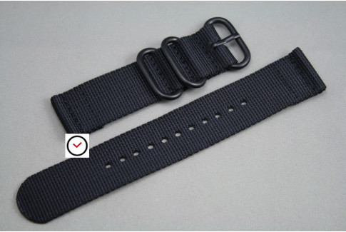 Black 2 pieces ZULU strap, PVD buckle and loops (black)