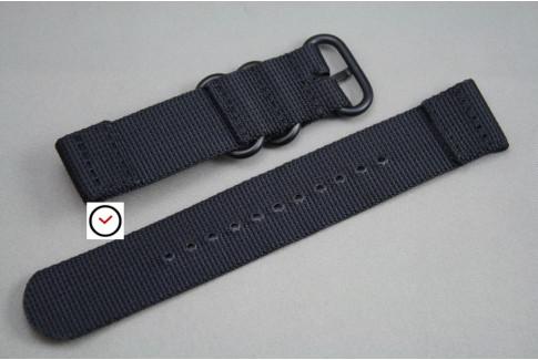 Bracelet montre ZULU 2 pièces Noir, boucle PVD (noire)