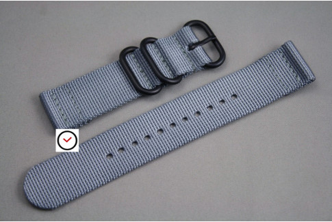 Grey 2 pieces ZULU strap, PVD buckle and loops (black)