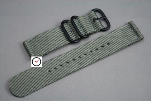 Bracelet montre ZULU 2 pièces Gris Vert, boucle PVD (noire)