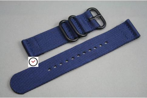 Bracelet montre ZULU 2 pièces Bleu Nuit, boucle PVD (noire)