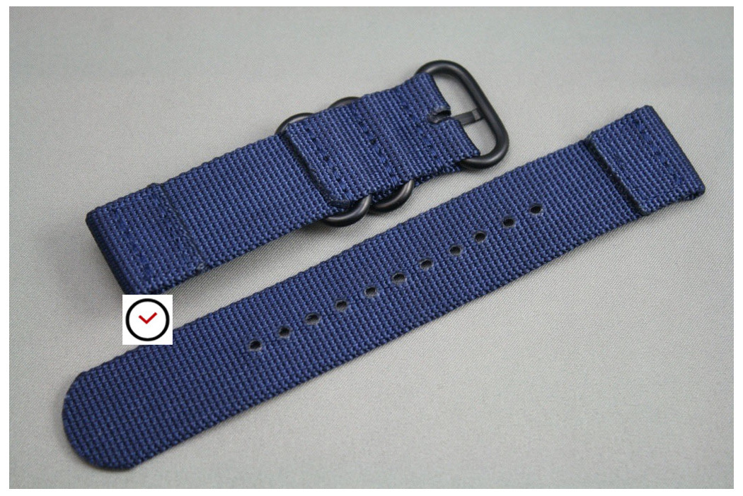Night Blue 2 pieces ZULU strap, PVD buckle and loops (black)