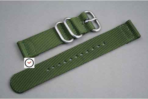 Military Green 2 pieces ZULU strap (highly resistant fabric)