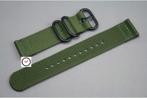 Bracelet montre ZULU 2 pièces Vert Kaki (Militaire), boucle PVD (noire)