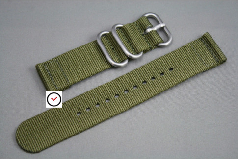 Olive Green 2 pieces ZULU strap (highly resistant fabric)