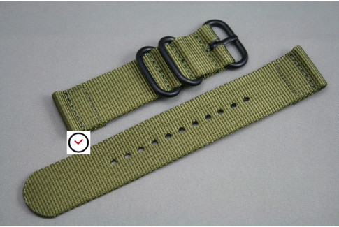 Olive Green 2 pieces ZULU strap, PVD buckle and loops (black)