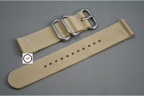 Sandy Beige 2 pieces ZULU strap (highly resistant fabric)