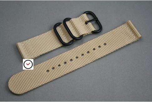 Bracelet montre ZULU 2 pièces Beige Sable, boucle PVD (noire)