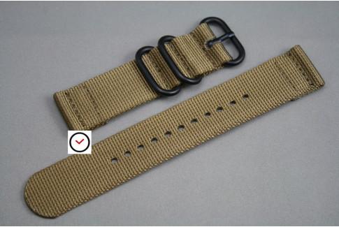 Bracelet montre ZULU 2 pièces Marron Bronze, boucle PVD (noire)