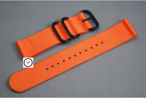 Bracelet montre ZULU 2 pièces Orange, boucle PVD (noire)