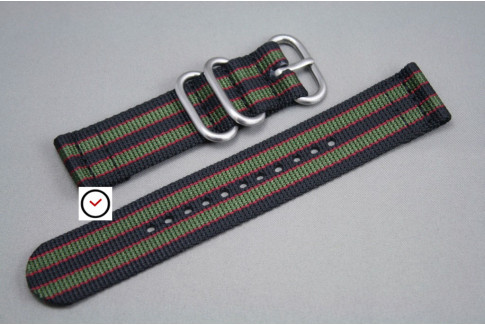 Original Bond 2 pieces nylon strap, Black Green Red (highly resistant fabric)