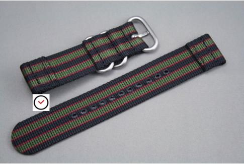 Bracelet montre ZULU 2 pièces Bond Original (Noir Vert-Kaki Rouge)