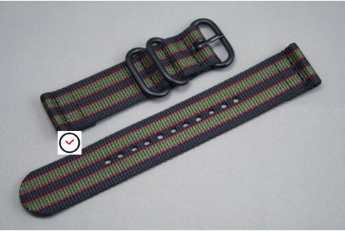 Bracelet montre ZULU 2 pièces Bond Original (Noir Vert-Kaki Rouge), boucle PVD (noire)