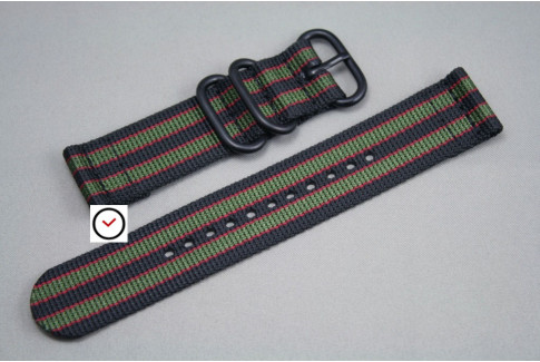 Original Bond 2 pieces ZULU strap, Black Green Red, PVD buckle and loops (black)