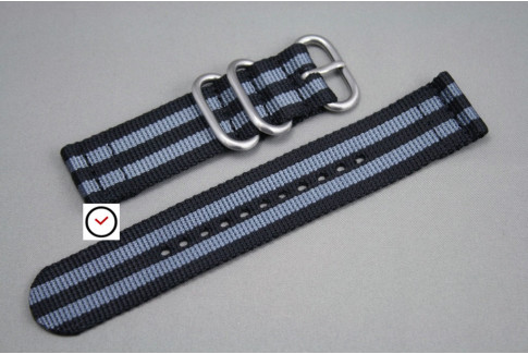 Craig Bond 2 pieces nylon strap, Black Grey (highly resistant fabric)