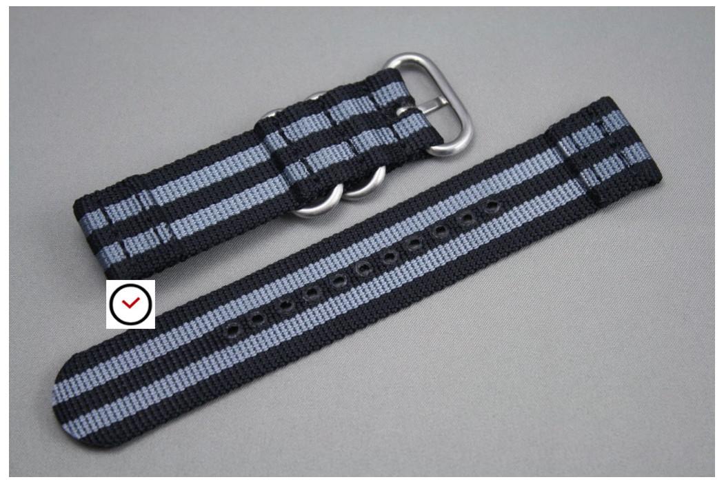 Bracelet montre ZULU 2 pièces Bond Craig (Noir Gris)