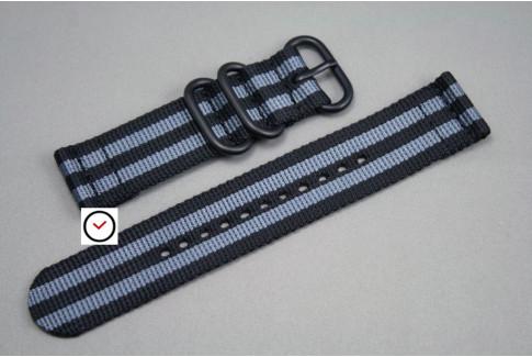 Bracelet montre ZULU 2 pièces Bond Craig (Noir Gris), boucle PVD (noire)