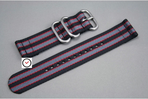 Black Grey Red James Bond 2 pieces nylon strap (highly resistant fabric)