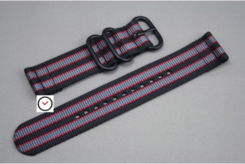 Bracelet montre ZULU 2 pièces Bond Noir Gris Rouge, boucle PVD (noire)