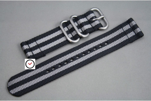 Black Grey 2 pieces ZULU strap (highly resistant fabric)