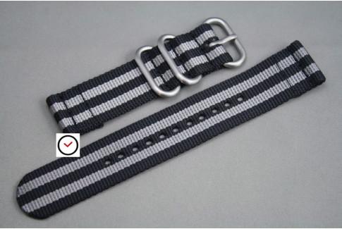 Bracelet montre ZULU 2 pièces Noir Gris (2 bandes)