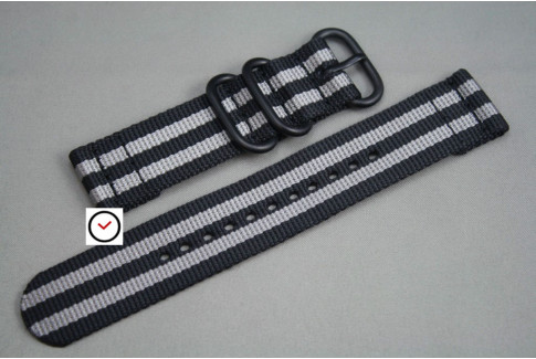 Black Grey 2 pieces ZULU strap, PVD buckle and loops (black)