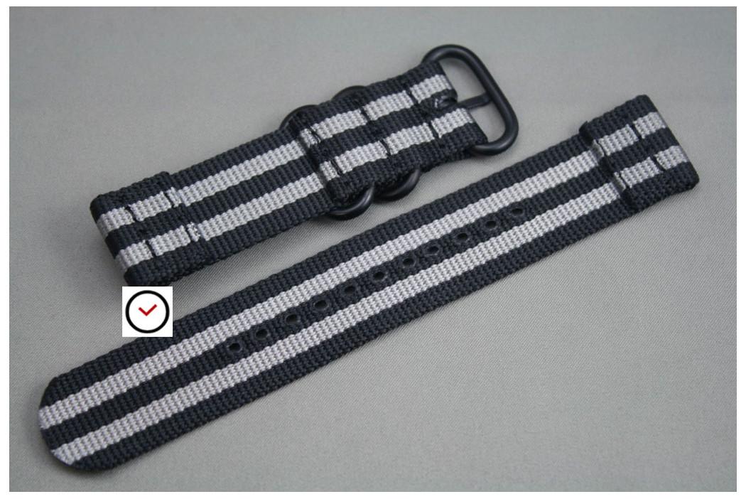 Bracelet montre ZULU 2 pièces Noir Gris, boucle PVD (noire)