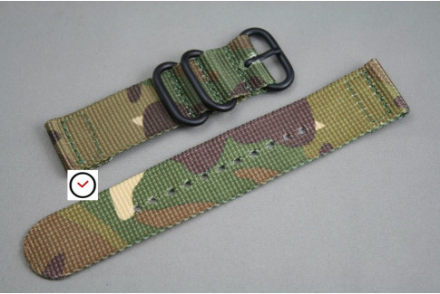 Camouflage 2 pieces ZULU strap, PVD buckle and loops (black)