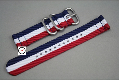 Blue White Red (French flag) 2 pieces nylon strap (highly resistant fabric)
