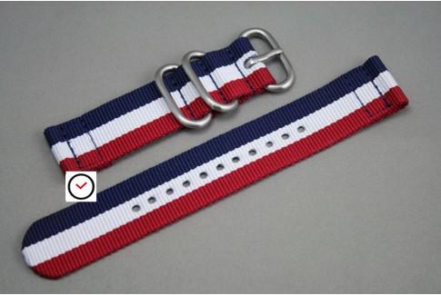 Bracelet montre ZULU 2 pièces Tricolore Bleu Blanc Rouge