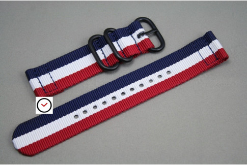 Blue White Red (French flag) 2 pieces ZULU strap, PVD buckle and loops (black)