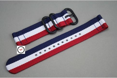 Bracelet montre ZULU 2 pièces Tricolore Bleu Blanc Rouge, boucle PVD (noire)