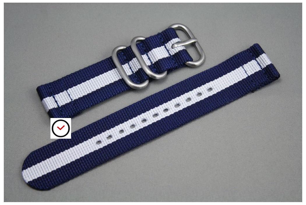 Bracelet montre ZULU 2 pièces Bleu Navy Blanc