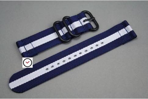 Bracelet montre ZULU 2 pièces Bleu Navy Blanc, boucle PVD (noire)