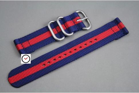 Bracelet montre ZULU 2 pièces Bleu Navy Rouge