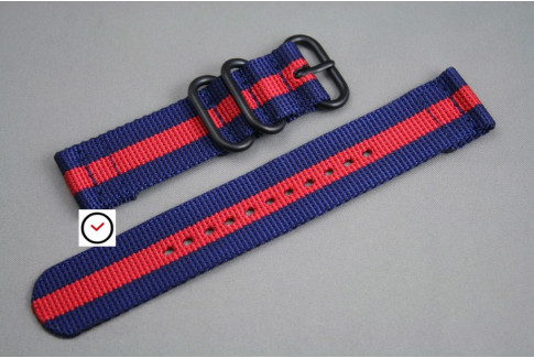 Navy Blue Red 2 pieces ZULU strap, PVD buckle and loops (black)