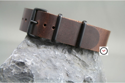 Motown leather G10 NATO strap, PVD buckles and loops (black)