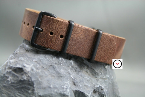Old School leather G10 NATO strap, PVD buckles and loops (black)