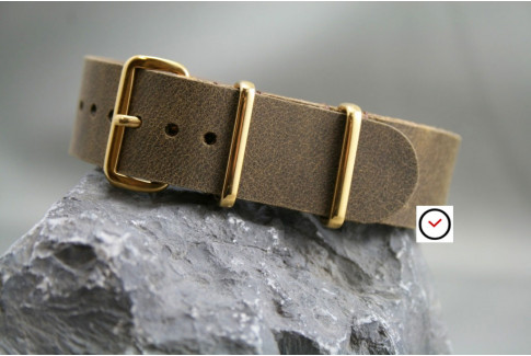 Vintage Raw leather G10 NATO strap, gold buckle and loops