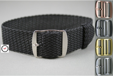 Black braided Perlon watch strap