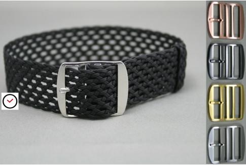 Bracelet montre Perlon tressé Noir, tissage aéré