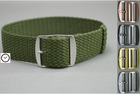 Military / Army Green braided Perlon watch strap