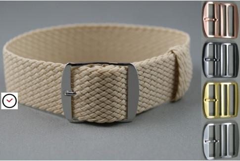 Beige braided Perlon watch strap