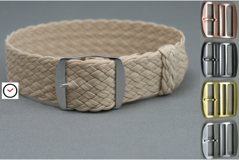 Beige braided Perlon watch strap, double yarn weaving