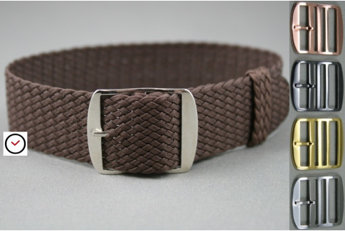 Brown braided Perlon watch strap